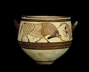 ancient greek pottery mycenaean birds british museum decorated greece vase bell mycenae krater minoan 1300bc helladic iiib 1200bc late bulls