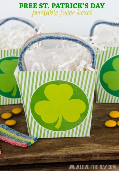 FREE St. Patrick's Day PRINTABLES:: Favor Boxes by Love The Day