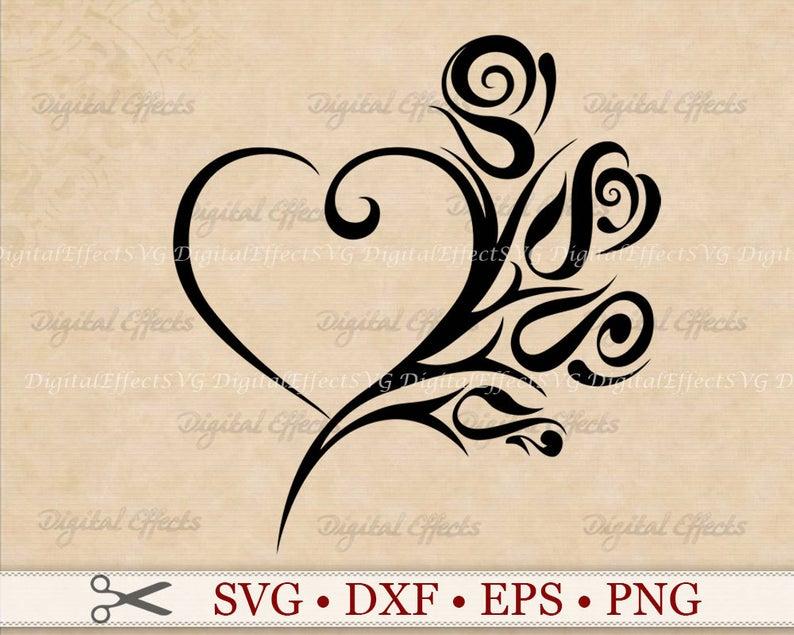 HEART ROSE SVG File Tribal Heart Svg Png Dfx Eps Heart