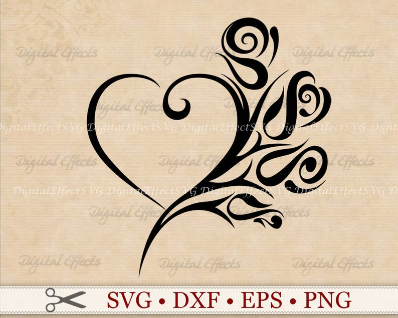 Heart Rose Svg File Tribal Heart Svg Png Dfx Eps Heart Etsy Tribal Heart Black Rose Tattoos Open Heart Tattoo