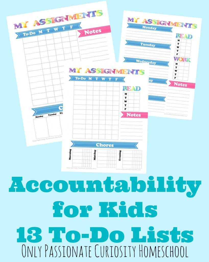 accountability pack 13 to do list printables organization for