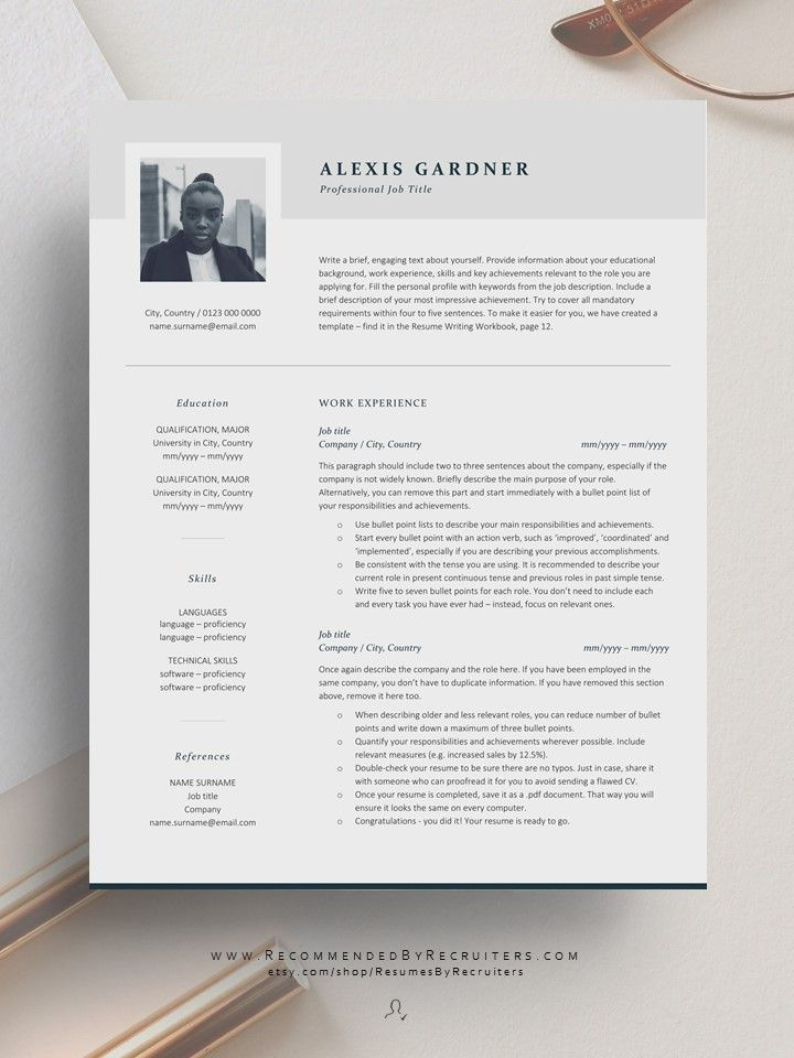 Elegant resume template with photo instant download cv
