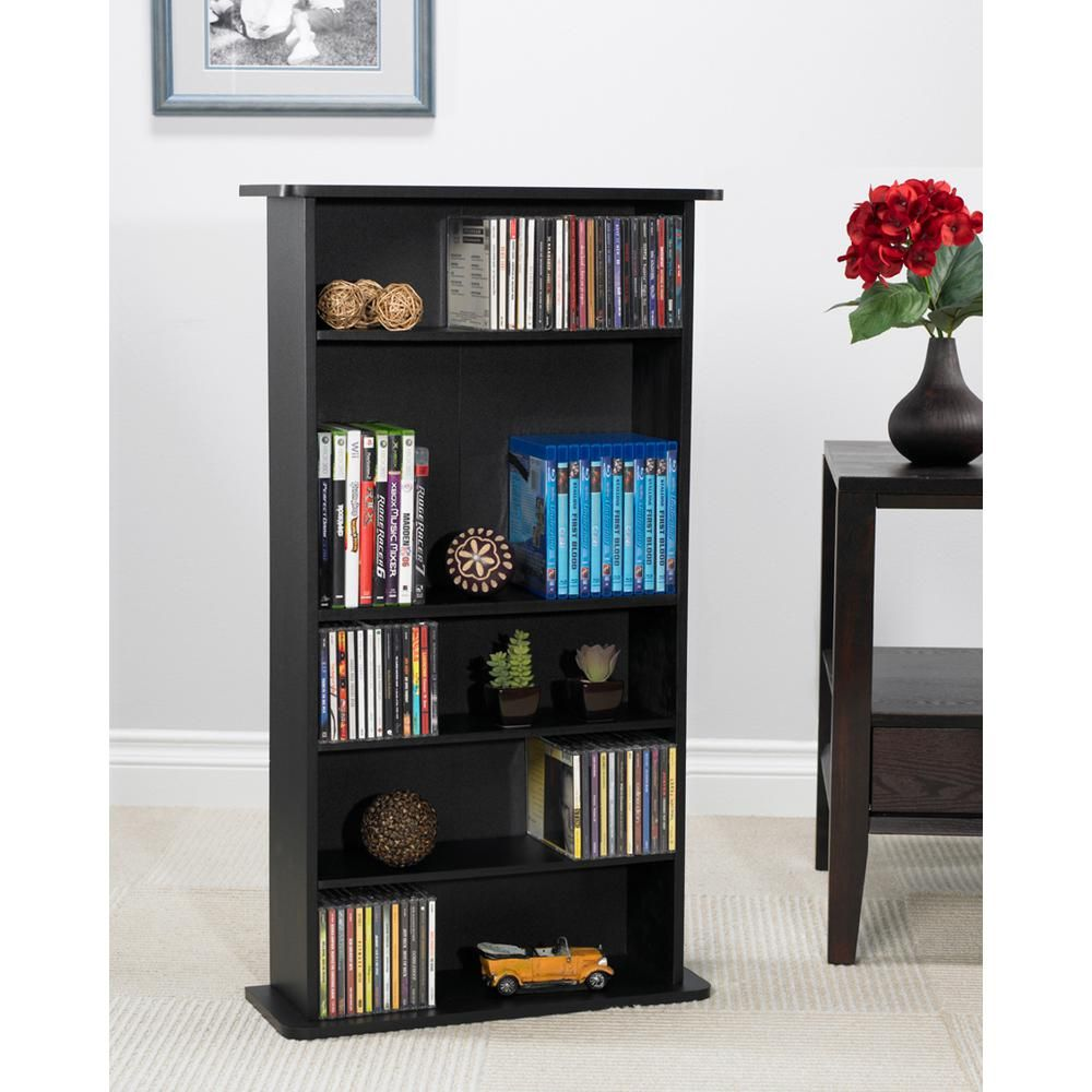 Atlantic Black Media Storage 37935726 Adjustable Shelving Media