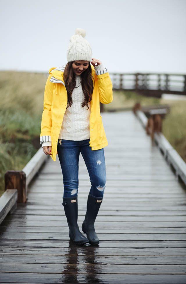 corilynn. Ivory knit sweater+ripped jeans+black rainy boots+yellow rainy  coat+ivory pom-pom knit beanie. Fall Casual Outfit 2016 5b3676807