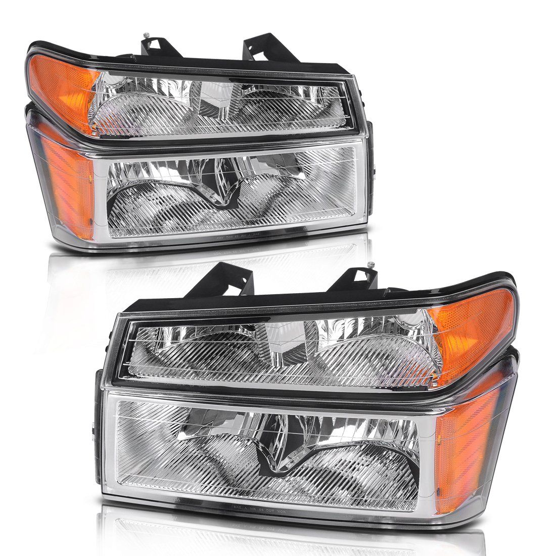 For 2004 2012 Chevy Colorado Gmc Canyon Headlights Replacement Chrome Housing With Amber Reflector Bump 2012 Chevy Colorado Chevy Colorado Headlight Assembly