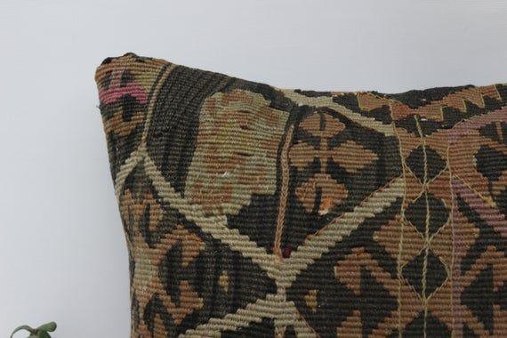 Aztec Pillow, Brown Pillow,Natural Pillow, Living Room Pillow,Turkish Pillow,Pillow Case,Kilim Pillo