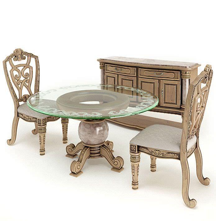 Antique Dining Set | 3D model | Dining set, Furniture, Dining