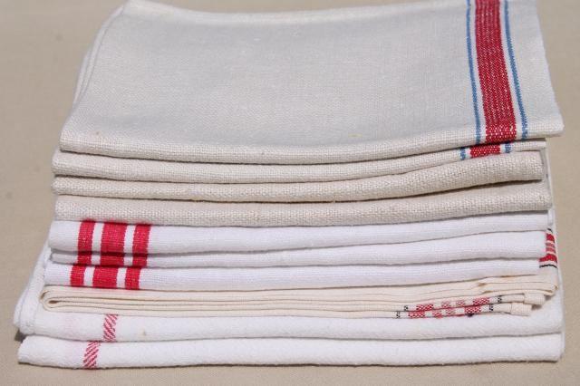 Merveilleux Vintage Kitchen Dish Towels, Striped Linen And Cotton Towel Lot Of 10
