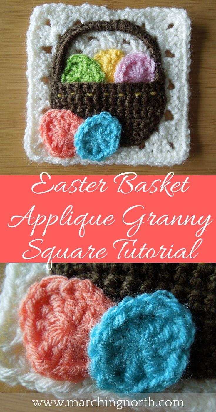Easter Basket Granny Square Free Crochet Pattern   Easter baskets ...
