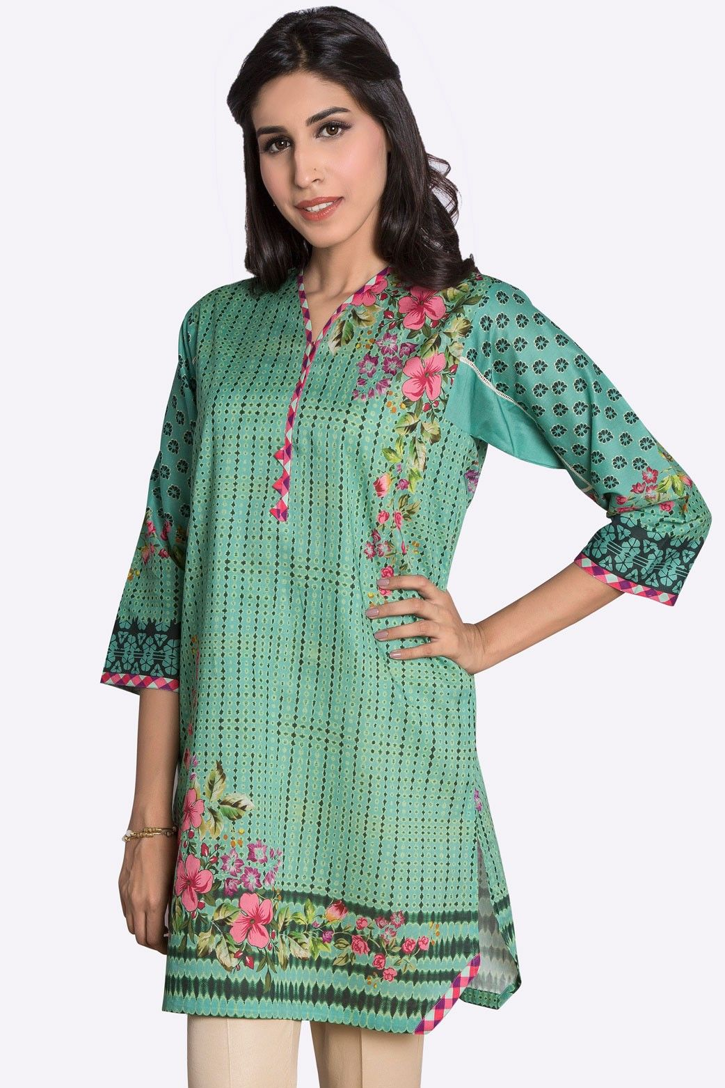 Medium Sea Green Color Pret Ready to Wear Eid Collection 2017 Pakistani Kurti is available online for sale by Zeen Cambridge   #Alkaram #Zeen #Pret #Pretwear #Readytowear #Style #love #Eid #2017 #fashion #women #3piece #pakistani #Pakistan #bridal #prom #dinner #date #wear #dress #brand #designerwear #designer