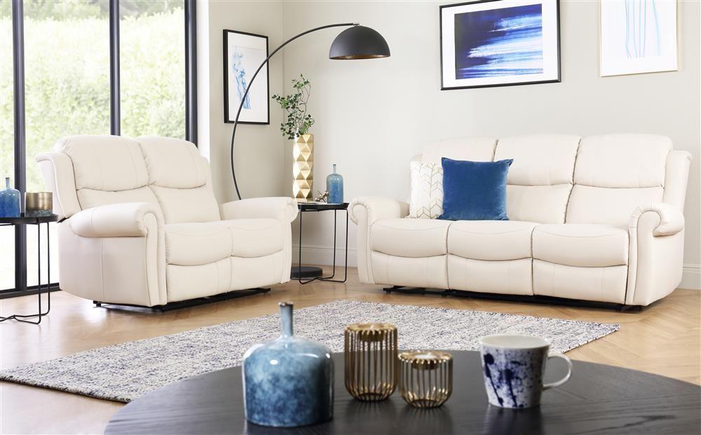 Hadlow Ivory Leather 3 2 Seater Recliner Sofa Set Furniture Choice In 2020 Furniture Choice Sofa Set Reclining Sofa