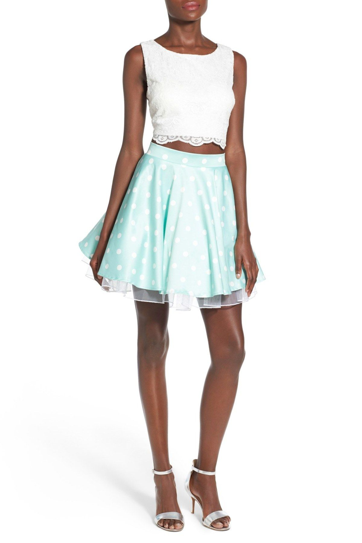 City triangles lace flared skirt twopiece dress juniors high