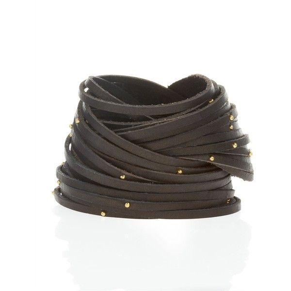 Linea Pelle Double-Wrap Studded Leather Bracelet, Black (CUSP Most... via Polyvore