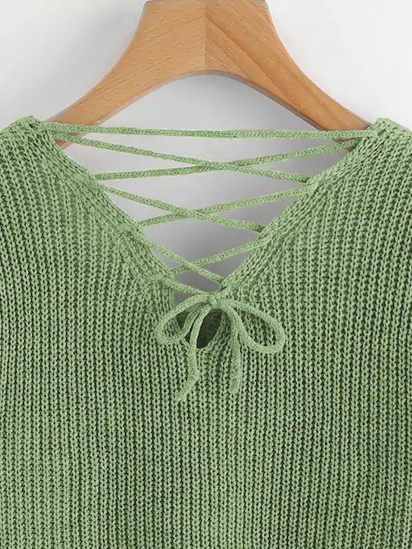Double Plunge Criss Cross Back Chunky Knit Jumper #chunkyknitjumper