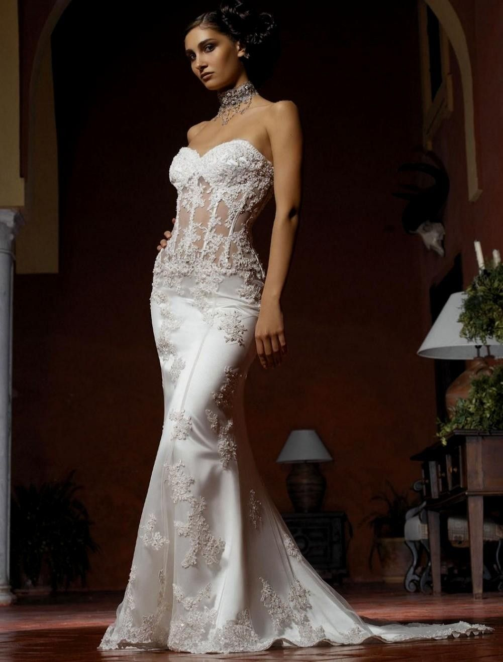 Another Sheer Bodice Wedding Dress Sleek And Form Ing With Lace Detail