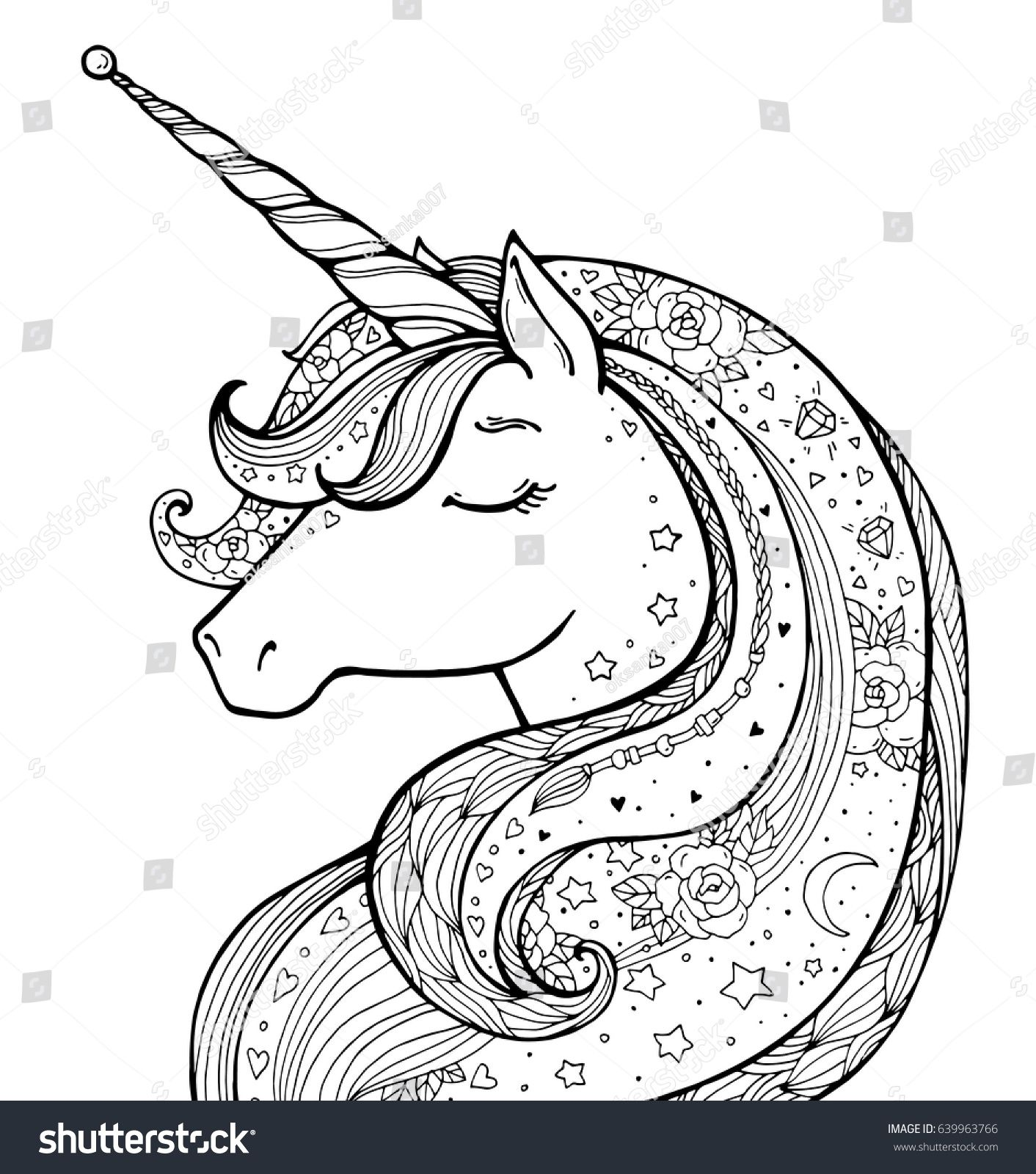 Unicorn Magical Animal Vector Artwork Black And White Coloring