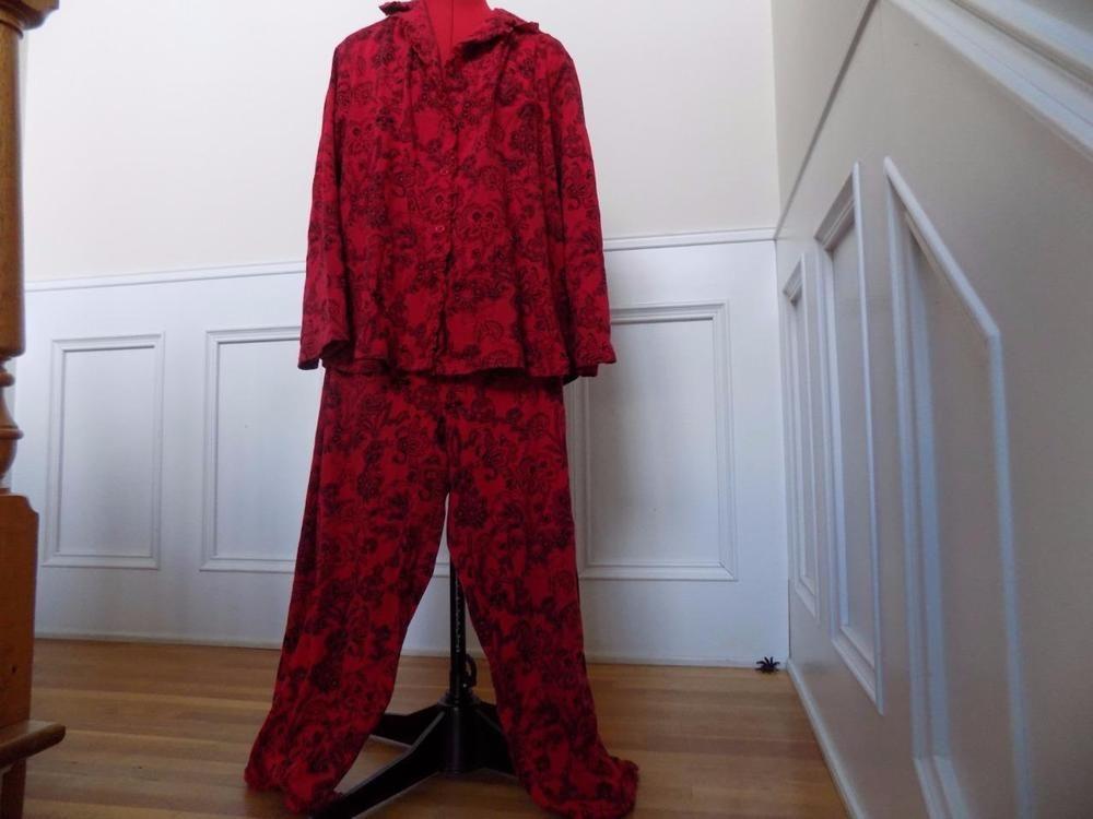 100 Cotton Knit Pajama Set Cabernet Plus Size 1x Red Black Floral