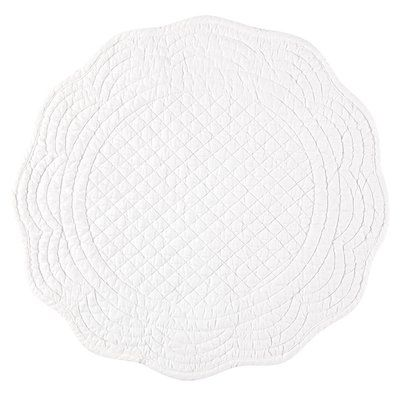 Three Posts Pekanbaru Round Boutis 14 Cotton Placemat Color White Placemats White Placemats Placemat Sets