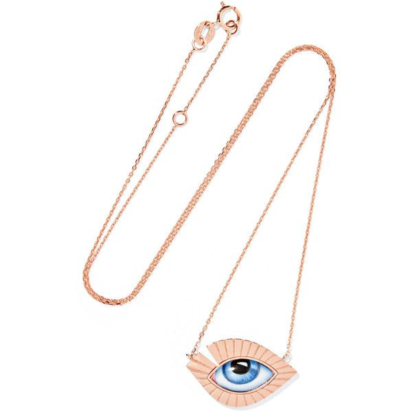 Lito Tu Es Partout 14karat rose gold enamel necklace 1175