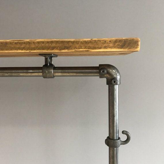 reclaimed wood scaffold pole clothing rail wardrobe an. Black Bedroom Furniture Sets. Home Design Ideas