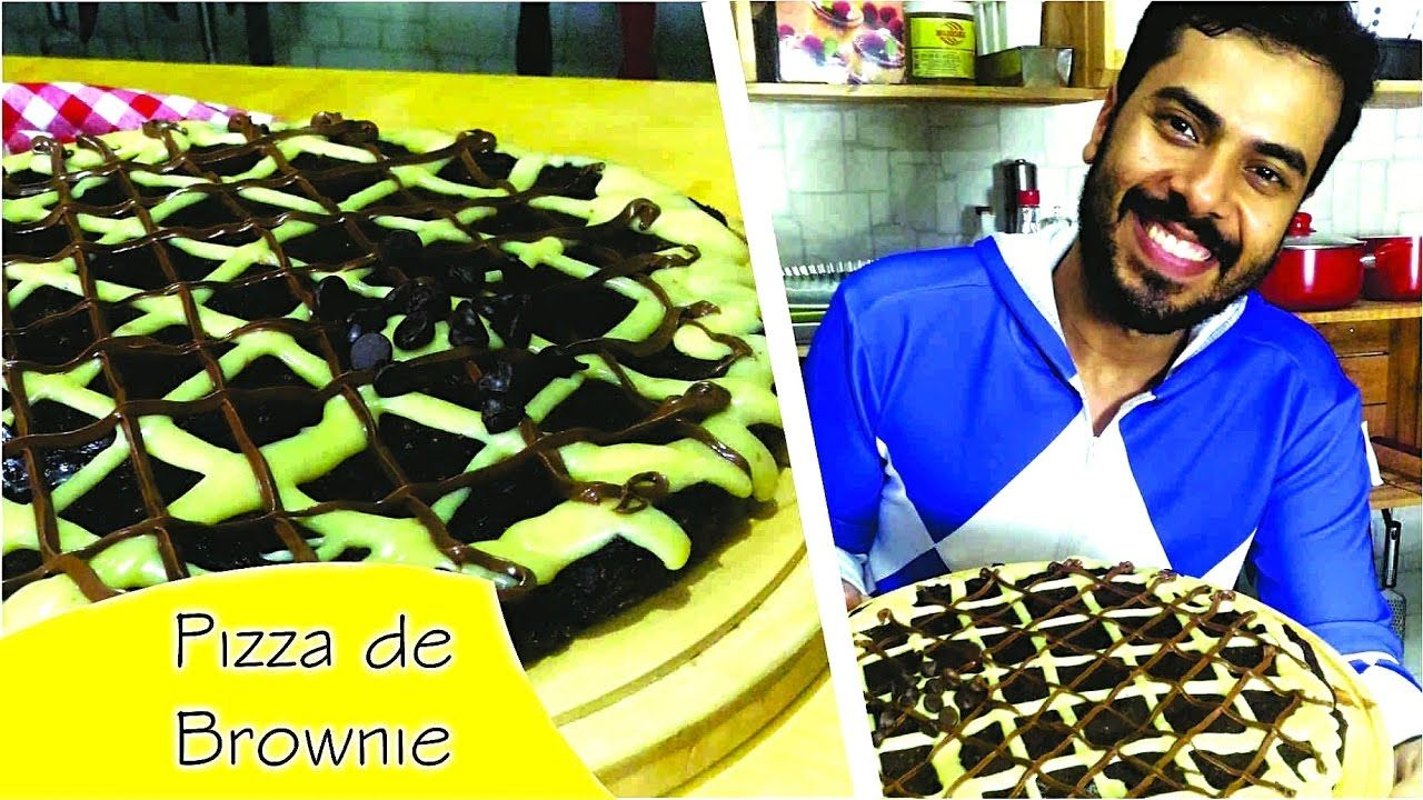 Pizza de Brownie com Brigadeiro de Leite Ninho e Nutella