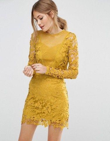 1087bef84b5 ASOS Mustard Lace Long Sleeve Paneled Shift Dress at asos.com ...