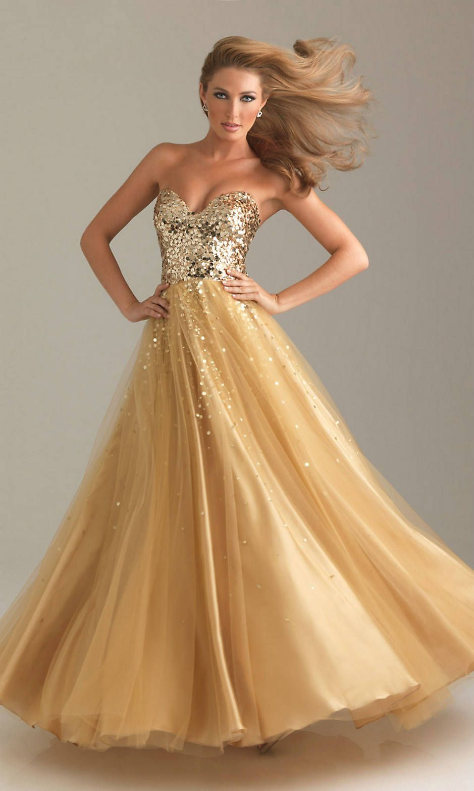 Sequin Bodice A Line Long Strapless Sweetheart Natural Gold Prom ...