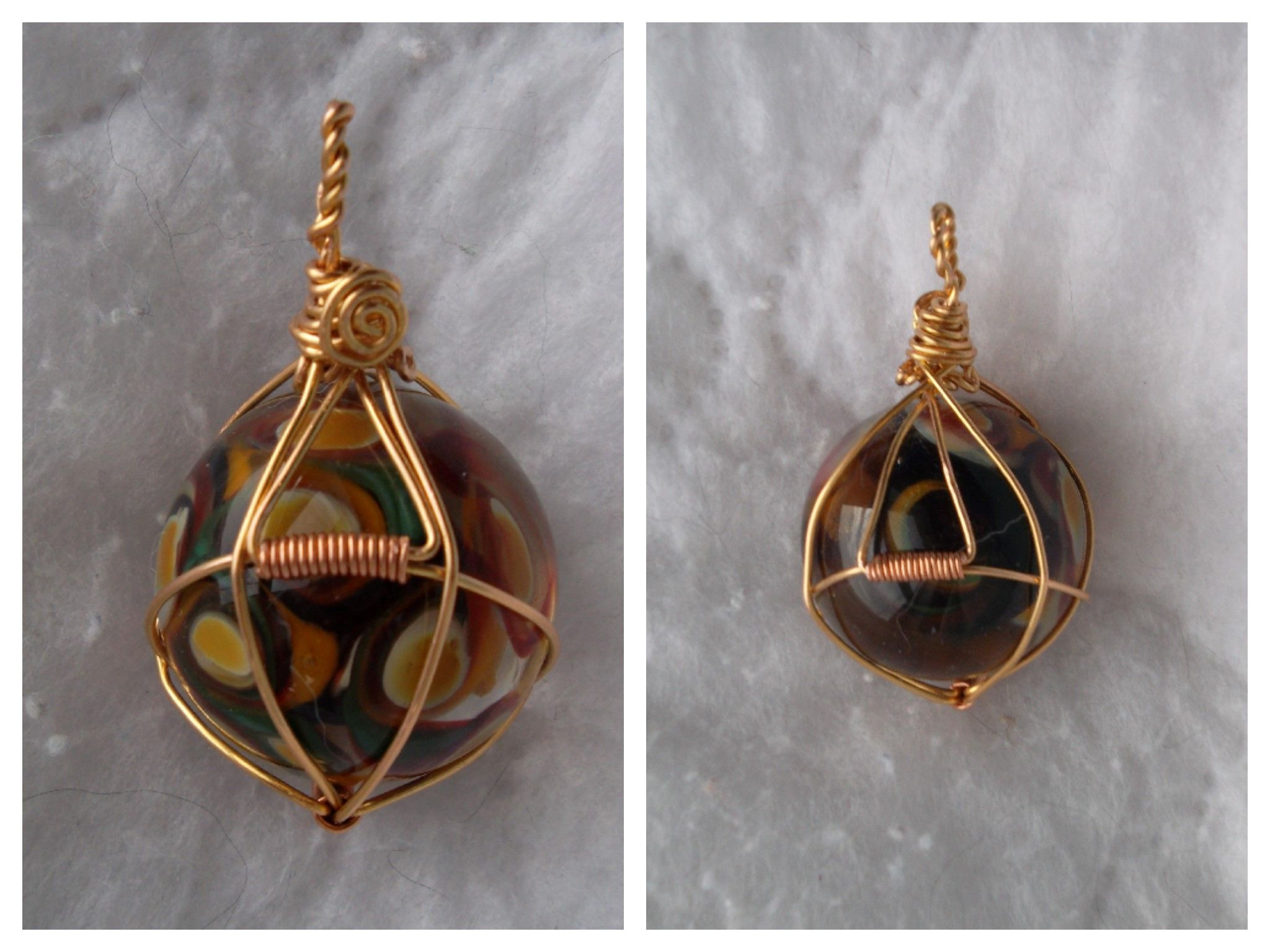 Wire Wrap Lamp Work Sphere, Brass & Copper Wire Made By freda | # 1 ...