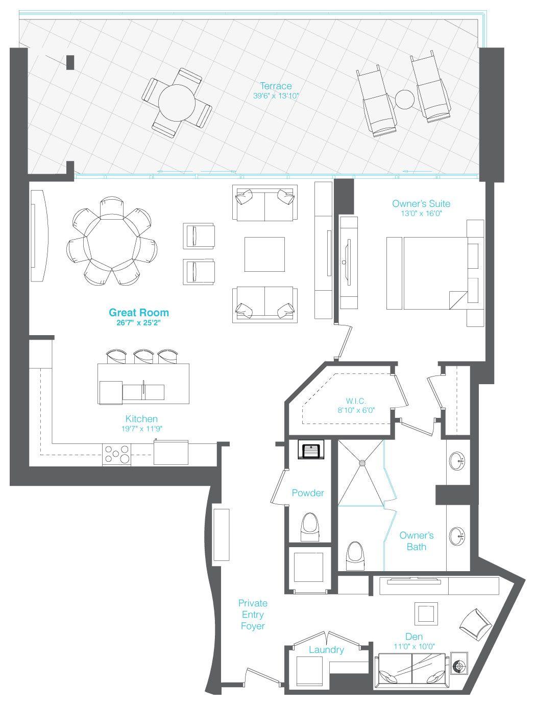 1 BEDROOM, 1.5 BATHS + DEN Condo floor plans, Floor