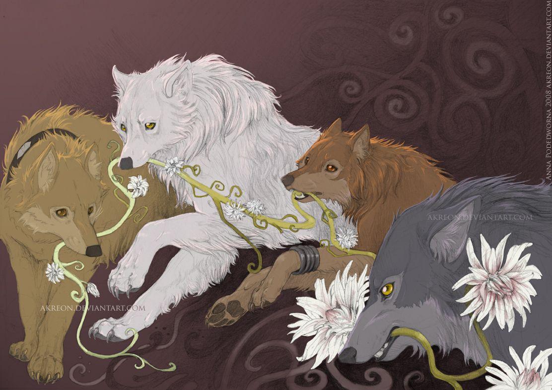 Wolf's Rain the wolf pack Hige, Kiba, Toboe, and Tsume