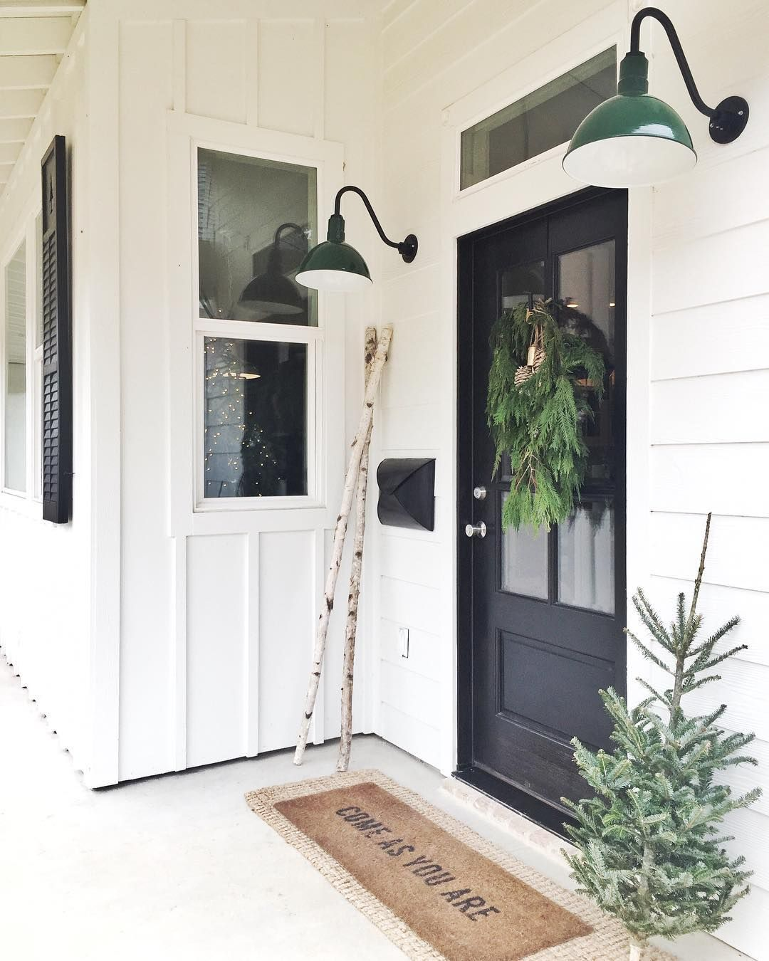 Wonder If We Have Enough Room Above Our Door For A Transom Also Love The Door And Board And Modern Farmhouse Exterior House Exterior Farmhouse Front Porches