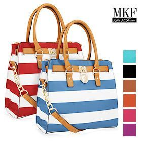 MFK Collection Plora Striped Structured Handbag - choxi.com