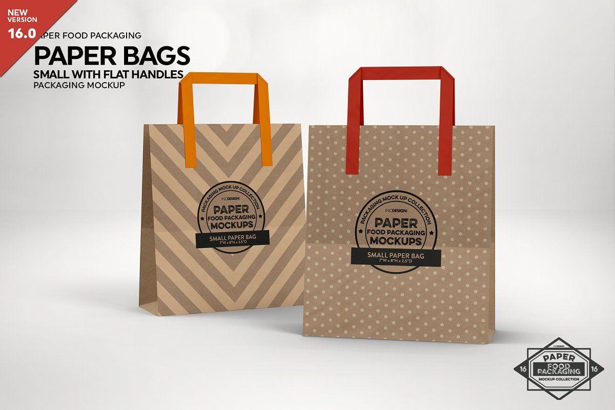 Download Flat Bakery Bags Packaging Mockup Packaging Mockup Small Paper Bags Bakery Bags