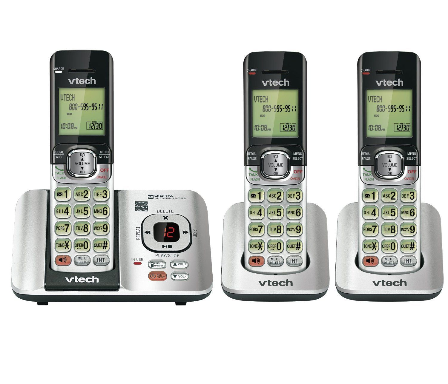 Vtech Cs6529 3 Dect 6 0 Phone Answering System With Caller Id Call Waiting With 3 Cordless Handsets Silver Black Cordless Phone Phone Handset