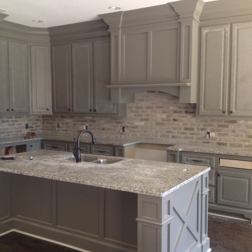 Love The Brick Backsplash Color Against The Grey Cabinets