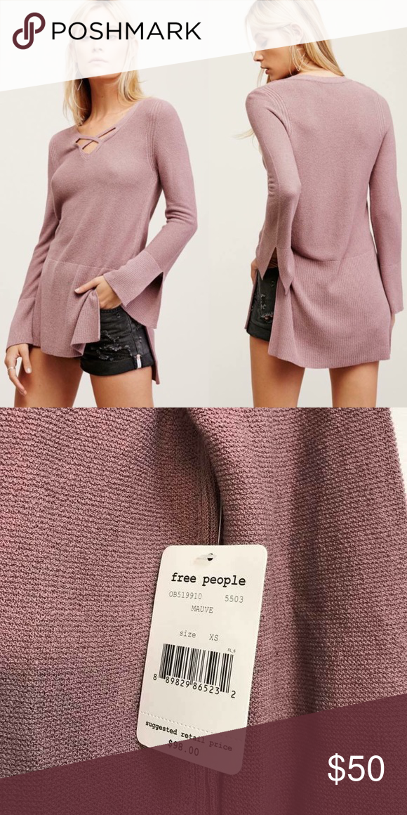 Free People Mauve Criss Cross Sweater Tunic NWT XS Crisscrossing straps at  the neckline add intriguing 96a459ac4