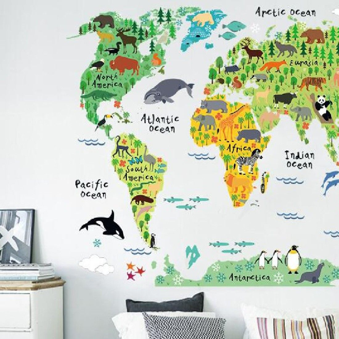 Cheap map wall sticker buy quality world map wall sticker winhappyhome animal distribution world map removable wall art stickers for kids room nursery decor teaching decals additional details at the pin image gumiabroncs Choice Image