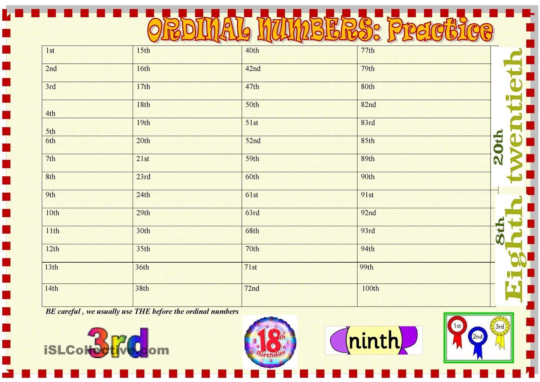 Ordinal Numbers Practice
