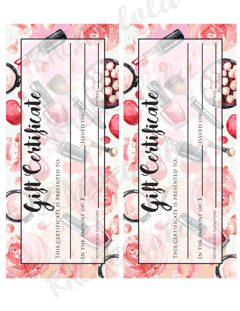 Printable Makeup Gift Certificate template, Mary kay, Avon, Voucher card, Arbonne, Salon Stylist, Mothers day, Instant digital download -   14 makeup Pink mary kay ideas