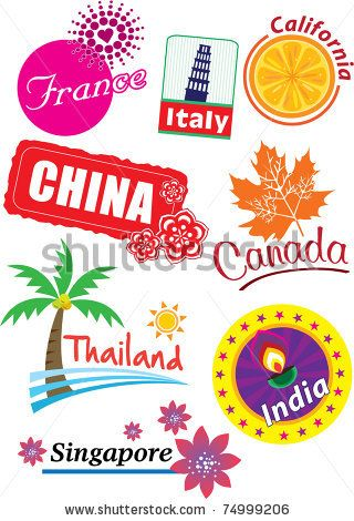 Country sticker - stock vector