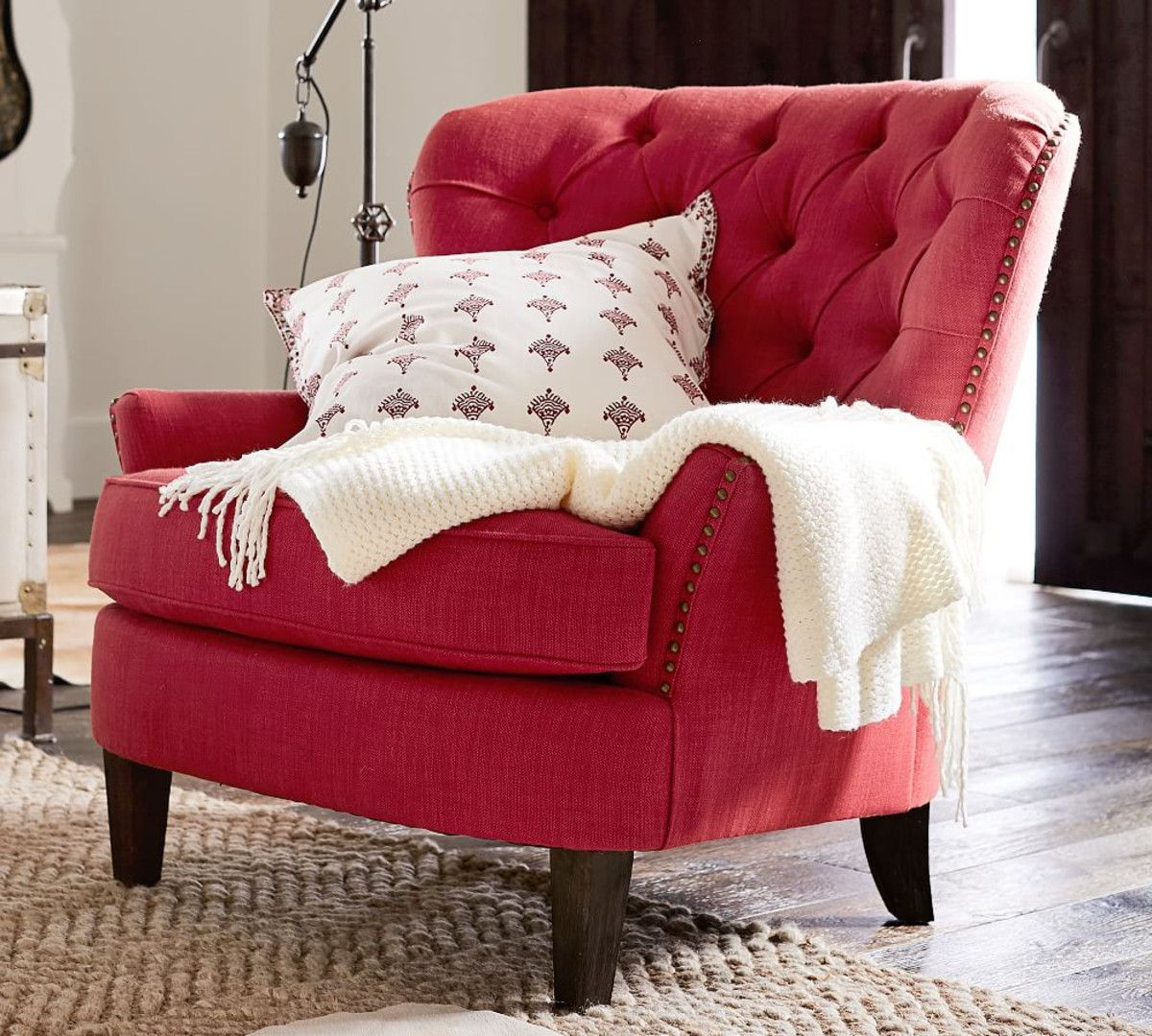 Cardiff Tufted Upholstered Armchair - Geranium Red | Arm ...