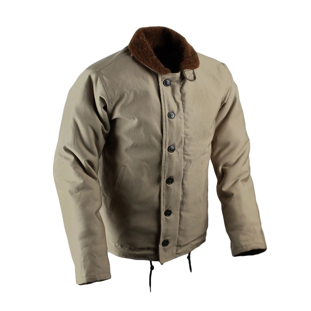 108a6e1e0b5 Vintage USN N-1 Deck Jacket US Navy Khaki Men s Military Jacket WW2 N1  Uniform Winter Woolen Coat Army Cotton Outwear Replica 44 Review