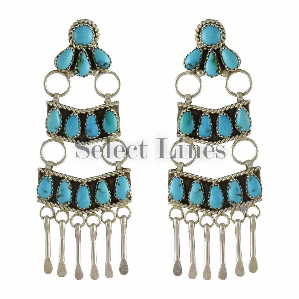 Eunice Wilson Sterling Silver Turquoise Navajo Chandelier Earrings Large