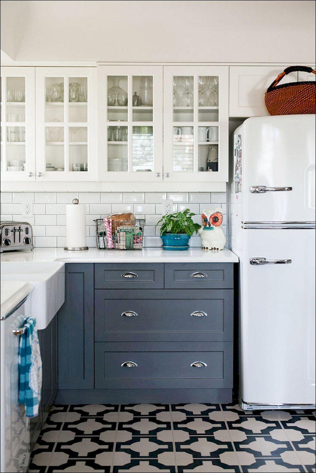 Adorable 80 Gorgeous Farmhouse Gray Kitchen Cabinet Design Ideas Https Rusticroom Co 3884 80 Gorge Dark Blue Kitchen Cabinets Kitchen Renovation Grey Kitchen