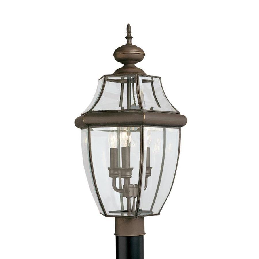 Sea Gull Lighting Lancaster 3 Light Outdoor Antique Bronze Post Light With Dimmable Candelabra Led Bulb 8239en 71 In 2020 Outdoor Post Lights Lantern Post Metal Lanterns