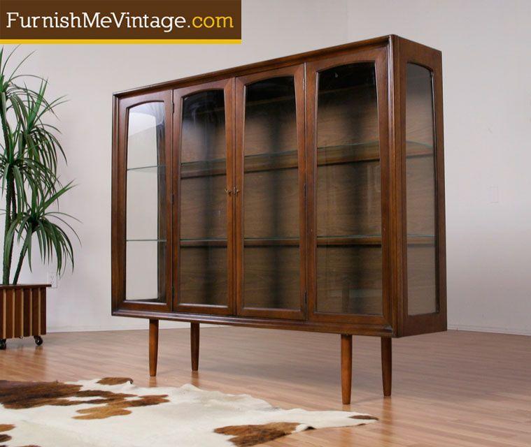 Mid Century Modern Lighted Walnut China Cabinet