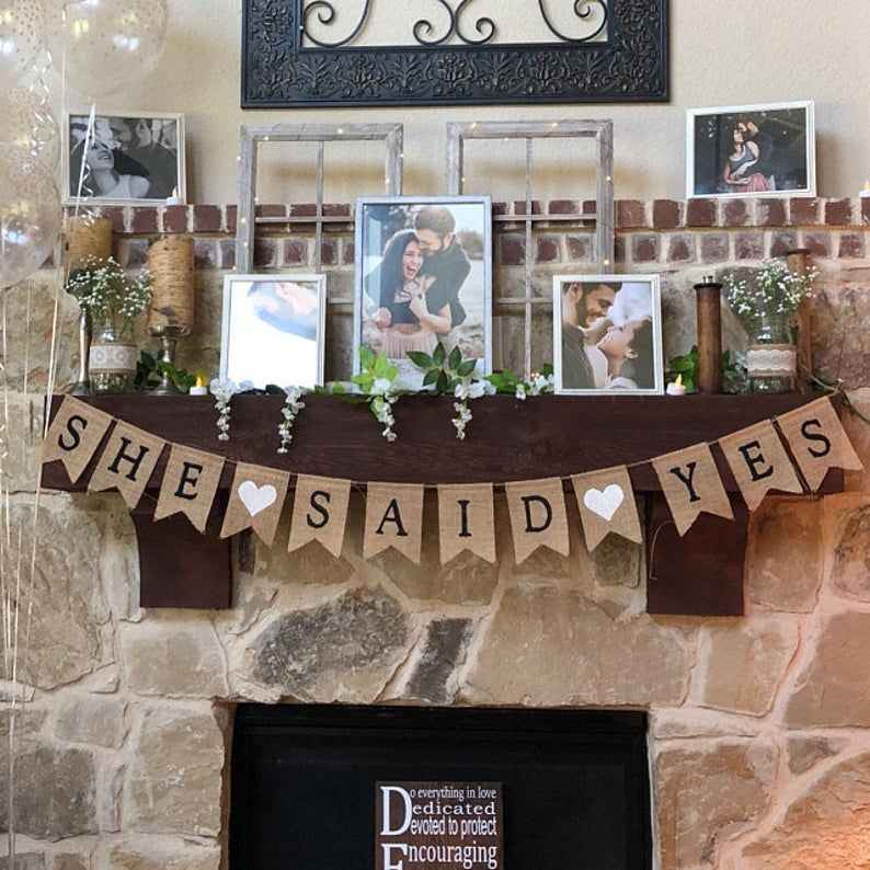 She Said Yes Banner, She Said Yes Burlap Bunting, Engagement Banner, Engagement Party Decorations, Bridal Shower Decor, Country Shower Decor
