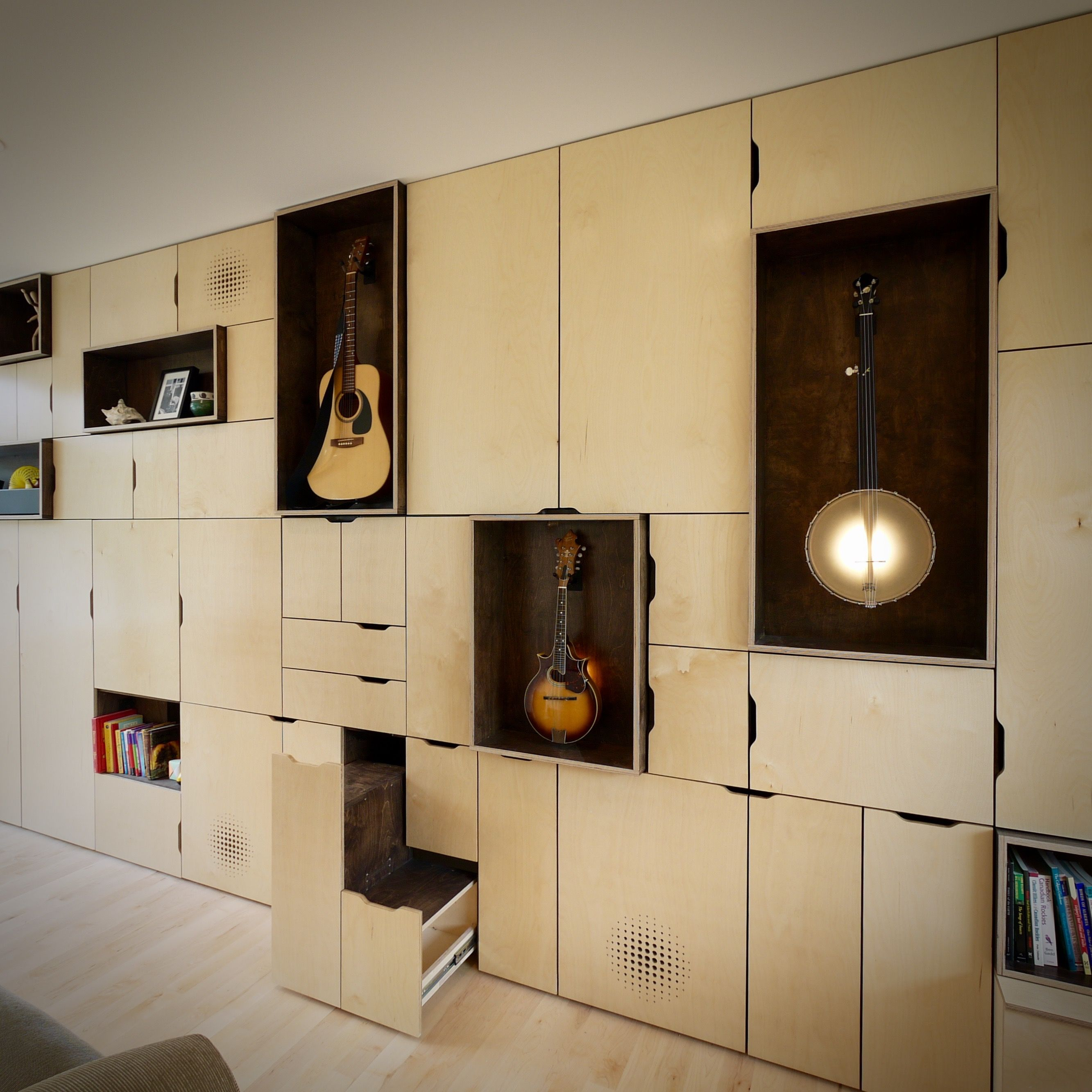 A cleverly-hidden step stool in the wall unit at our Guitar House in ...