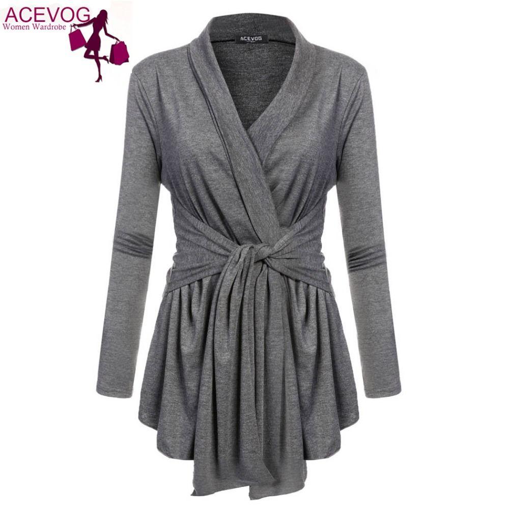 ACEVOG 10 Colors Women V-Neck Asymmetric Hem Wrap Lace Up Belted ...