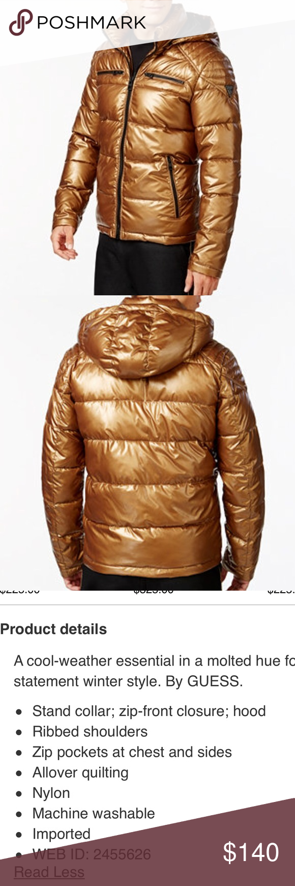 Nwot Guess Men S Metalllic Gold Puffer Coat Guess Metallic Gold Puffer Coat Nwot No Damage In Same Condition As Bought In Sto Puffer Coat Guess Men Puffer [ 1740 x 580 Pixel ]